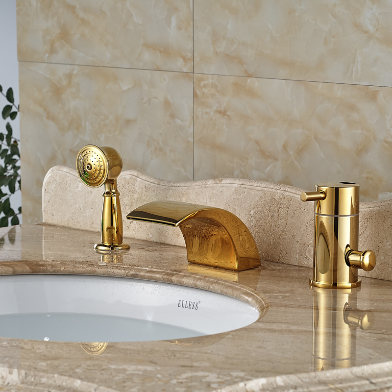 LED LIght Bathroom Gold Bath Shower Mixer Taps Widespread Deck Mount ...