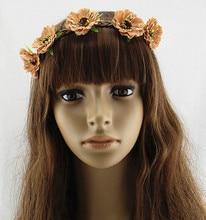 NEW wholesale fashion bohemian rose flower braid leather headband popular beach garland headband assorted colors