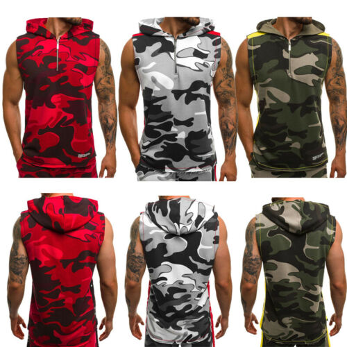 Stylish Hot Sale Men's Casual Camouflage Sleeveless Zip Hoodies Tank Tops Bodybuilding Gym Fitness Casual Hooded Tops S-XXL