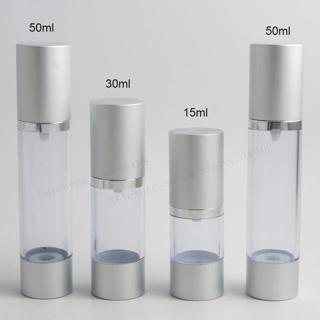 1cfc62ac5ea5 US $268.2 10% OFF|200 x 15ml 30ml 50ml Silver High grade Refillable Bottles  Portable Airless Pump Dispenser Bottle For Travel Lotion -in Refillable ...