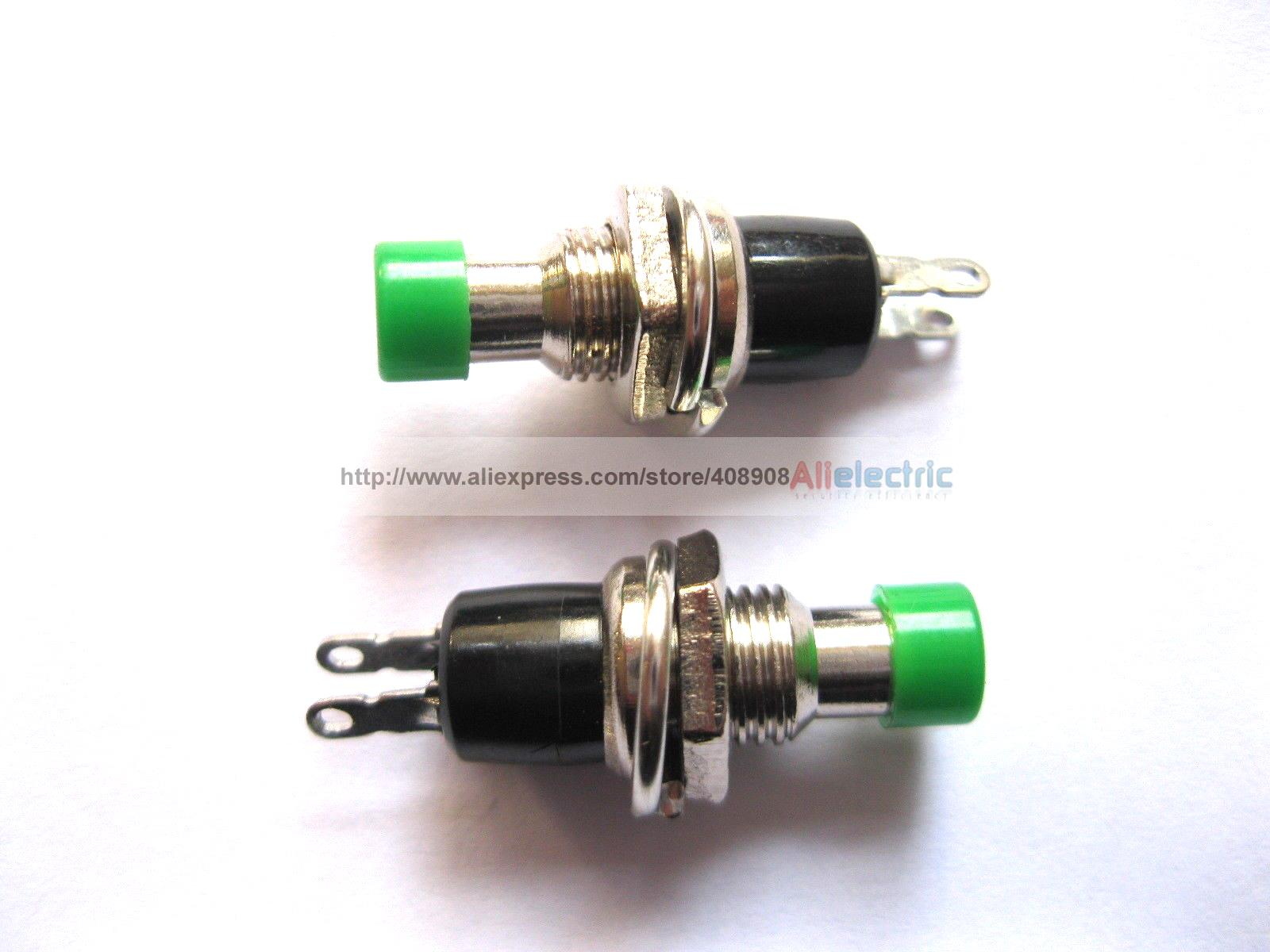 цена на 40 Pcs SPST Mini Push Momentary Switch Green Cap 250V 3A 125V 6A Nomal Off