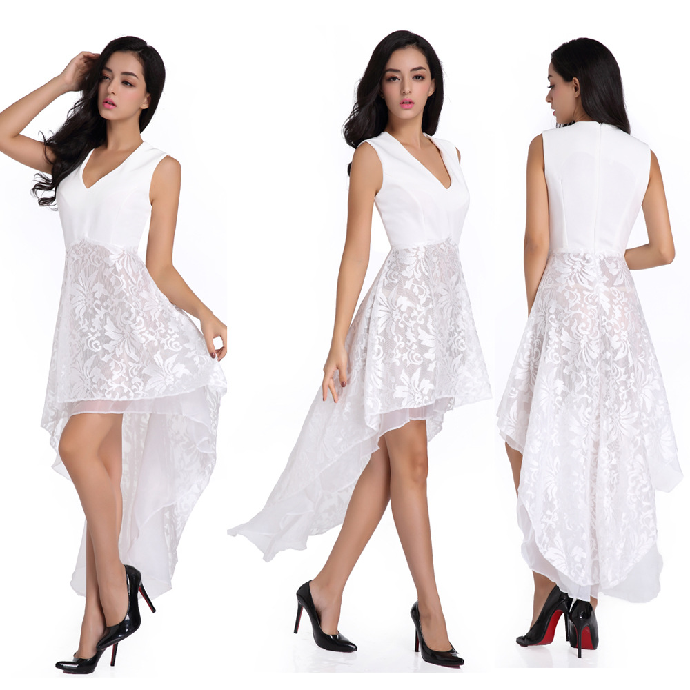 Women vestidos fashion sexy sleeveless short front long back lace women vestidos fashion sexy sleeveless short front long back lace flower dress bride banquet formal party gowns wd194 in dresses from womens clothing mightylinksfo