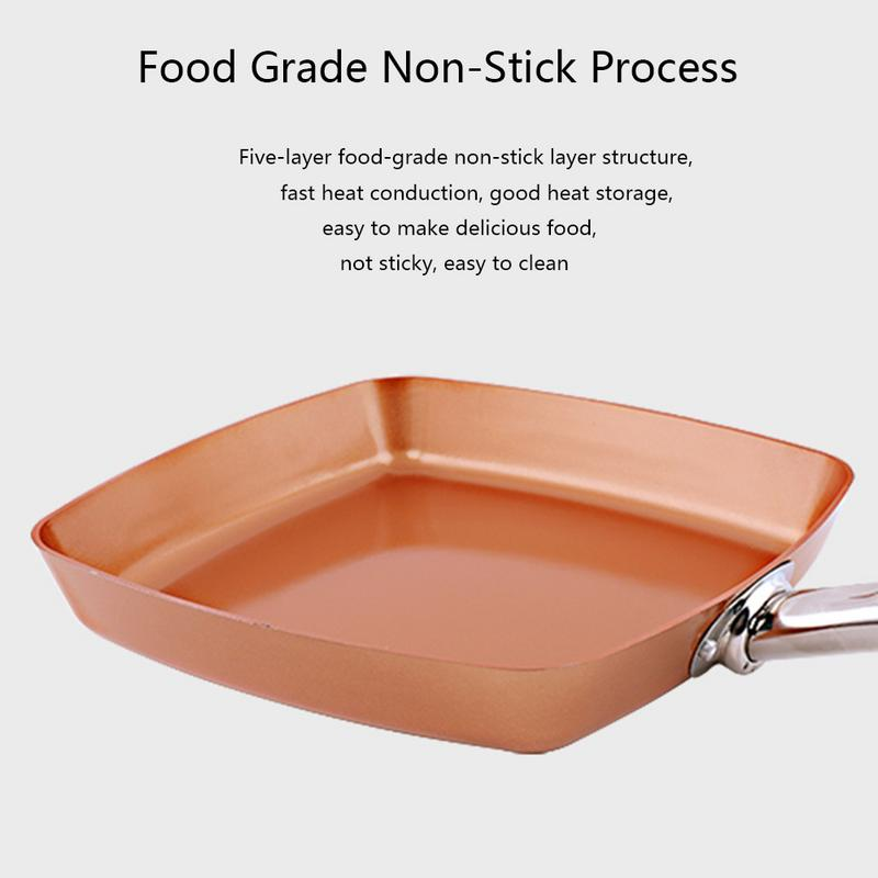New Handled Non Stick Frying Pan Bronze Aluminum Bottom Flat Square Pot Long Handle Grill Pan Griddles Stainless Steel Bottom