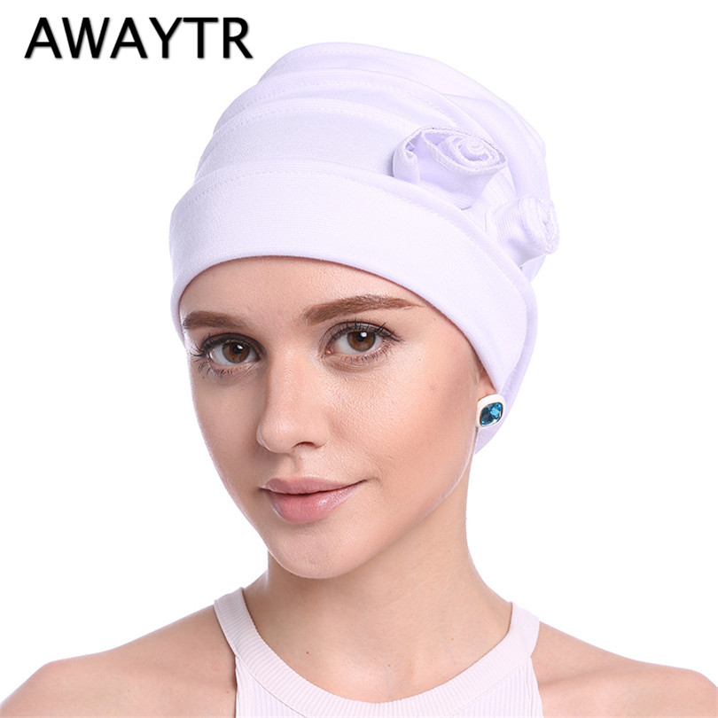 AWAYTR 1 Pc Women Fashion Bandanas Autumn Winter Indian Scarf Elastic Headband Flower Turban Cap Muslim Hair Ornaments