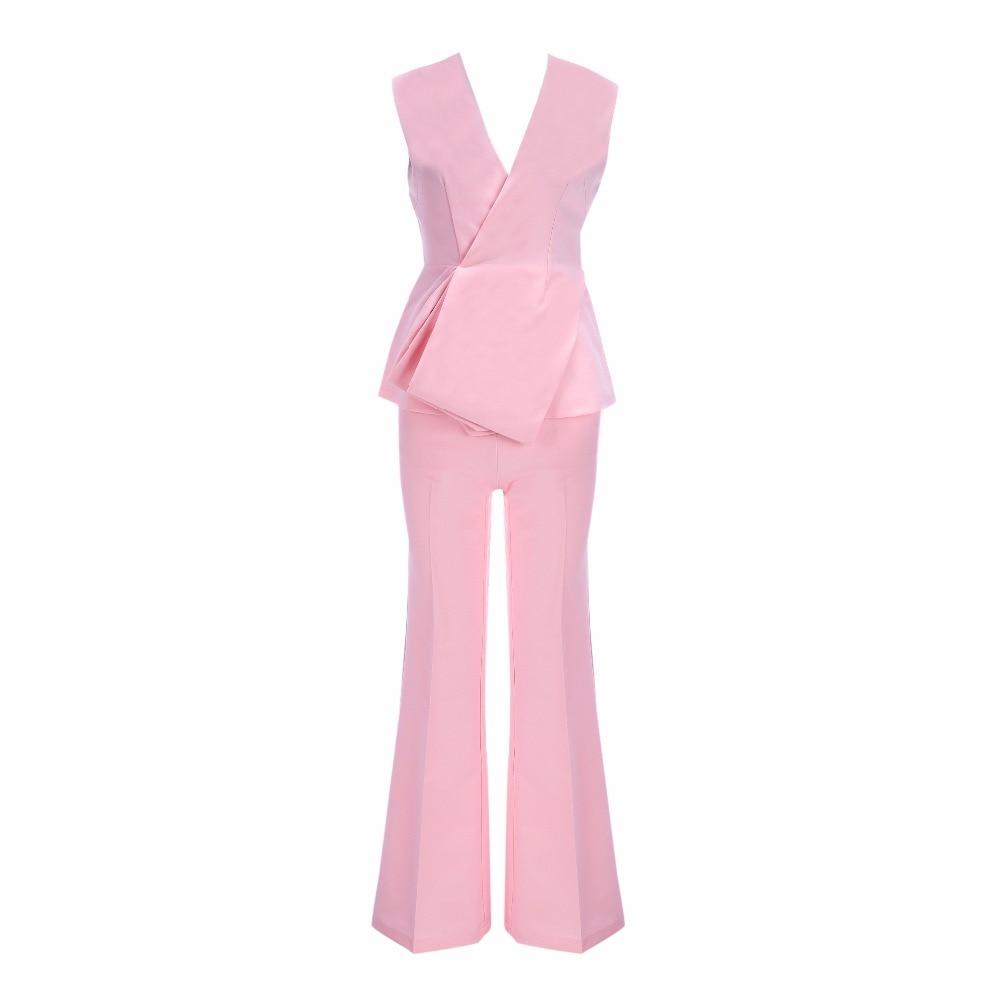 Tops Pièces Deux 2 Col Femmes De Bandage Pantalons Ensemble Célébrité V Robe Et Mode En Rose Soirée 7zO6TTqx