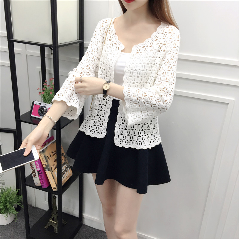 Camisas Mujer 2017 Spring Summer Crochet White Lace Blouse Women Fashion Tops Sexy Hollow Out Knitted Cardigan Chemise Femme 10