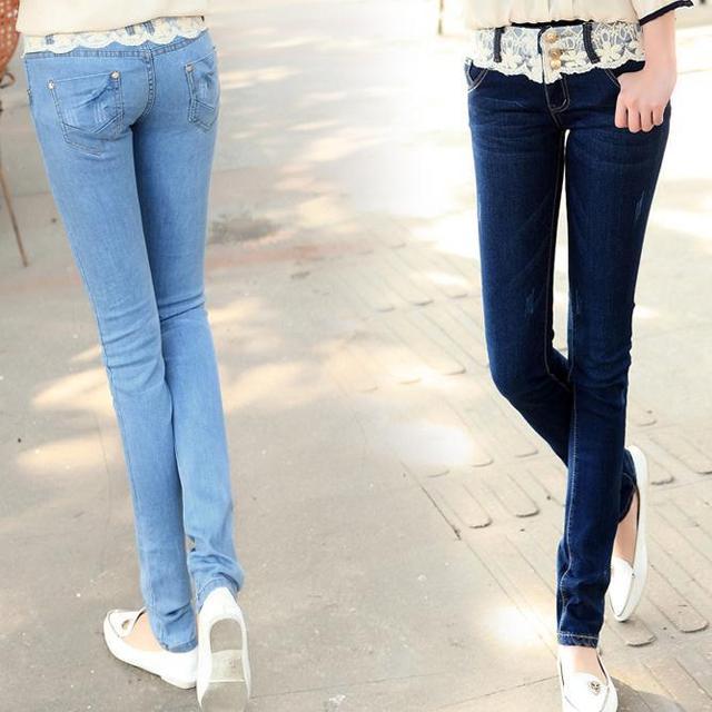 free shipping Fashion Denim Women Jeans Cotton Flexible Jeans Lace Low Waist Pencil Style Women's Sexy Slim Skinny Jeans