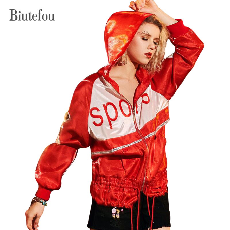 2018 New arrival letter print loose coats spring fashion women cartoon sequined thin  jackets