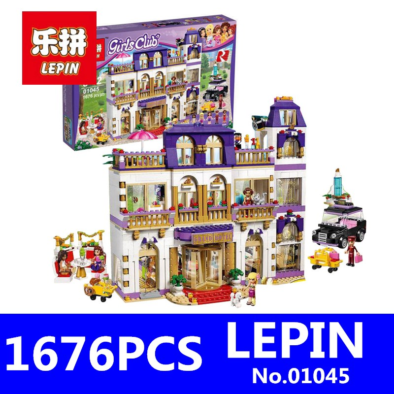 LEPIN 01045 1676Pcs Girls Series Heartlake Grand Hotel Set Children Eucational Building Blocks Bricks Toys Model Gift 41101 2017 sexy halter push up thong bandeau biquini ruffled swimsuit string swim wear beach bathing suit swimwear women bikini female