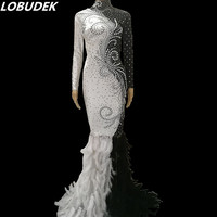 Female Black White Feathers Long Dress Sparkly Pearls Rhinestones Trailing Dress Prom Party Costume Singer Star Performance Wear