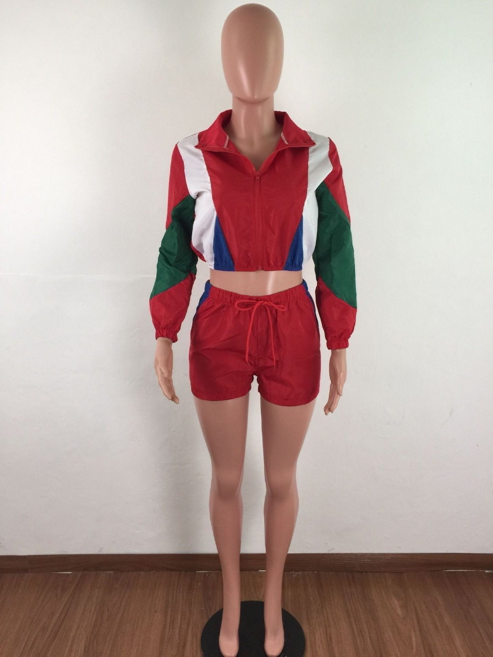 Casual Two Piece Set Women Tracksuit Crop Top and Shorts Short Jacket Colorful Patchwork Sweatshirt Set Sporting Short Set in Women 39 s Sets from Women 39 s Clothing