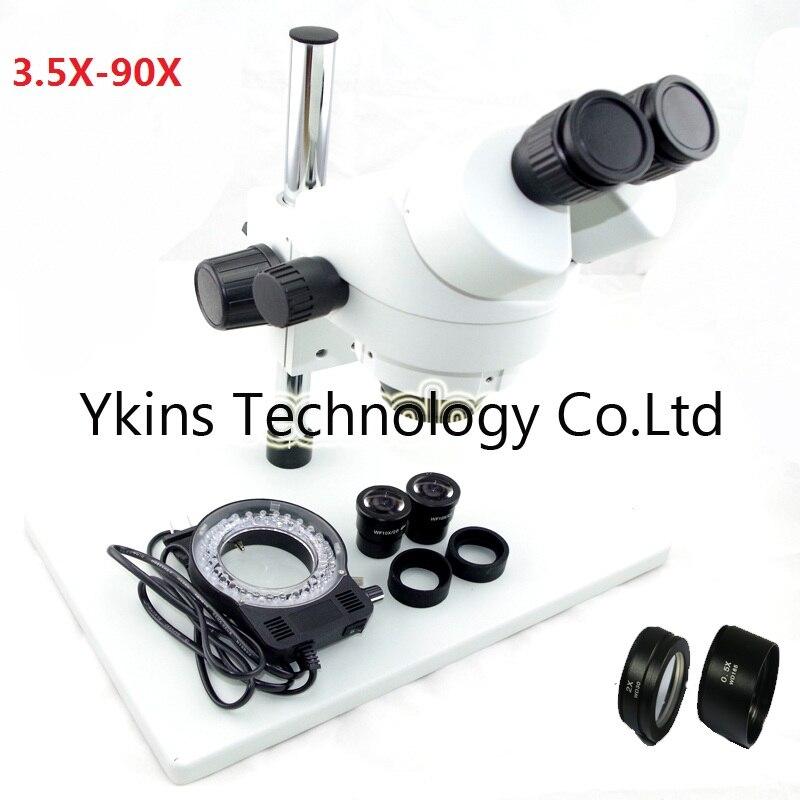 7-45X OU 3.5X-90X Grande table stand Zoom Binoculaire Stéréo Microscope + 56 pcs Led lumières avec 0.5X 2.0X objectif pour PCB réparation