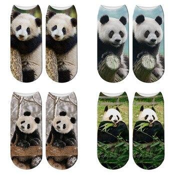 New 3D Printed Panda Animal Socks Women Child Giant Funny Cute Cotton Short Ankle Harajuku