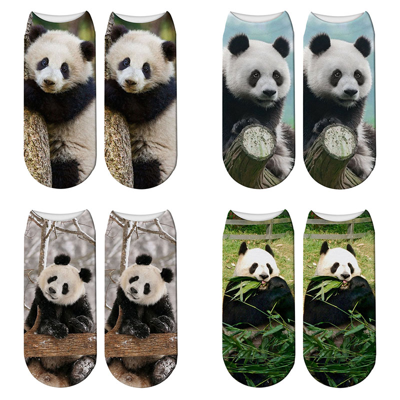New 3D Printed Panda Animal   Socks   Women Child Giant Panda Funny Cute Cotton Short Ankle   Socks   Harajuku Cute   Socks
