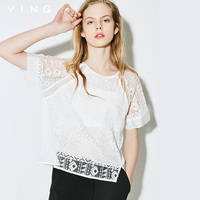 Ving 2015 Women Short Sleeve Vintage Chiffon Shirt Female Hllow Out O Neck Shirts
