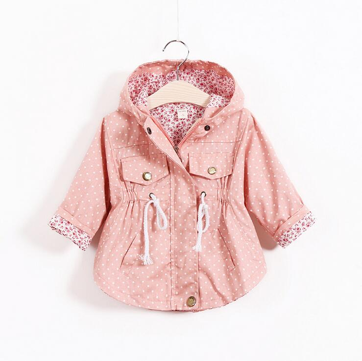 wholesale toddler baby girls polka dots canvas trench jacket clothes children candy colors hooded fall winter
