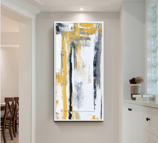Large Oil Painting On Canvas Abstract Art Modern Yellow Vertical Acrylic Living Room