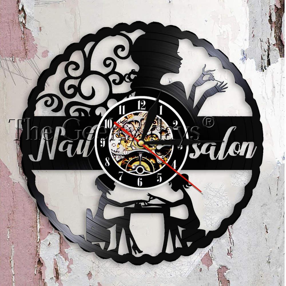 Nail Salon Decor Nail Art Manicure Wall Clock Nails Studio Salon Decorative Vinyl Record Wall Clock Beauty Salon Wall Watch Gift