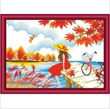 Factory Shop Cross Stitch Kit Red Angel Tree Flower Creek Free Shipping(China)