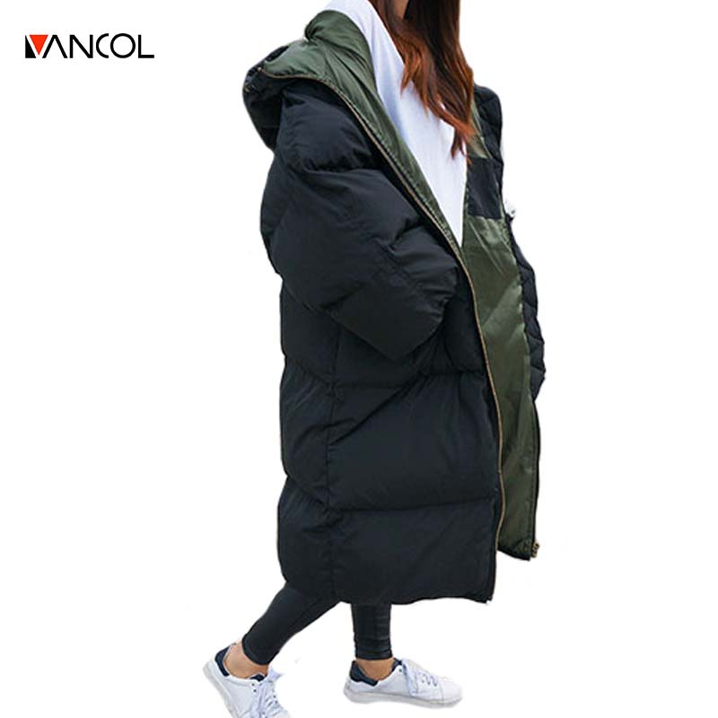 b339ce05fa84f vancol 2016 winterjas dames plus size quilted thickness womens winter  jackets and coats hooded black parkas for women winter-in Parkas from  Women's Clothing ...