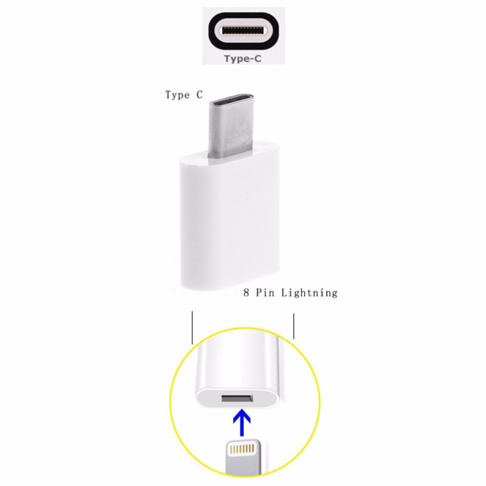 8 Pin Female to USB 3.1 Type C Male Sync Data Connector Converter Charger Adapter For iPhone 5 6 7 7 Plus