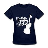 新しい来る女性楽しいtシャツバイオリンhero classicトップスロゴ半袖シャツ女性s、m、l、xl