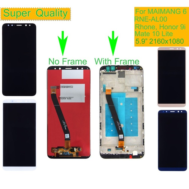 10Pcs For Huawei MAIMANG 6 RNE AL00 Rhone Nova 2i LCD Display Touch Screen Digitizer Assembly With Frame Honor 9i Mate 10 Lite