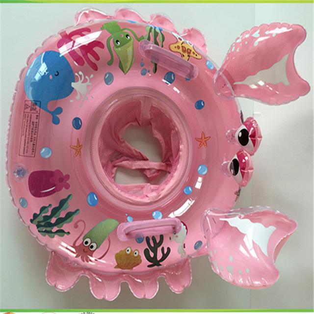 Assento inflável dos desenhos animados dupla alça infantil assento inflável anel de natação Infantil natação círculo um barco LMY908