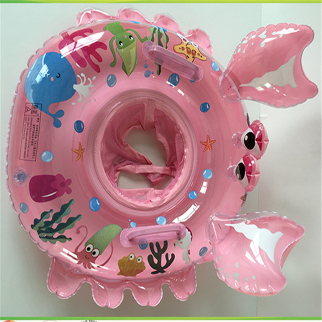 Cartoon inflatable seat double handle Children's inflatable swimming ring seat Infant swimming circle a boat LMY908