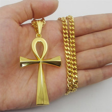 Hip Hop Tready Ankh Cross Necklace Pendants For Women Men Jewelry Egyptian Key of Life Dropshipping Stainless Steel