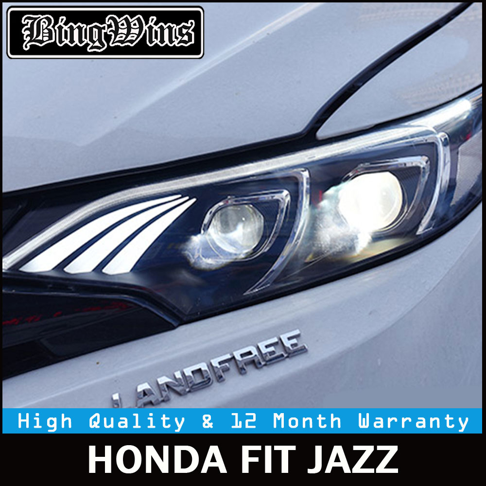 Car styling for Auto Car Headlights 2014 2015 2016 2017 For Honda Fit Headlamp DRL Lens Double Beam Xenon of Benz Led Bar Style