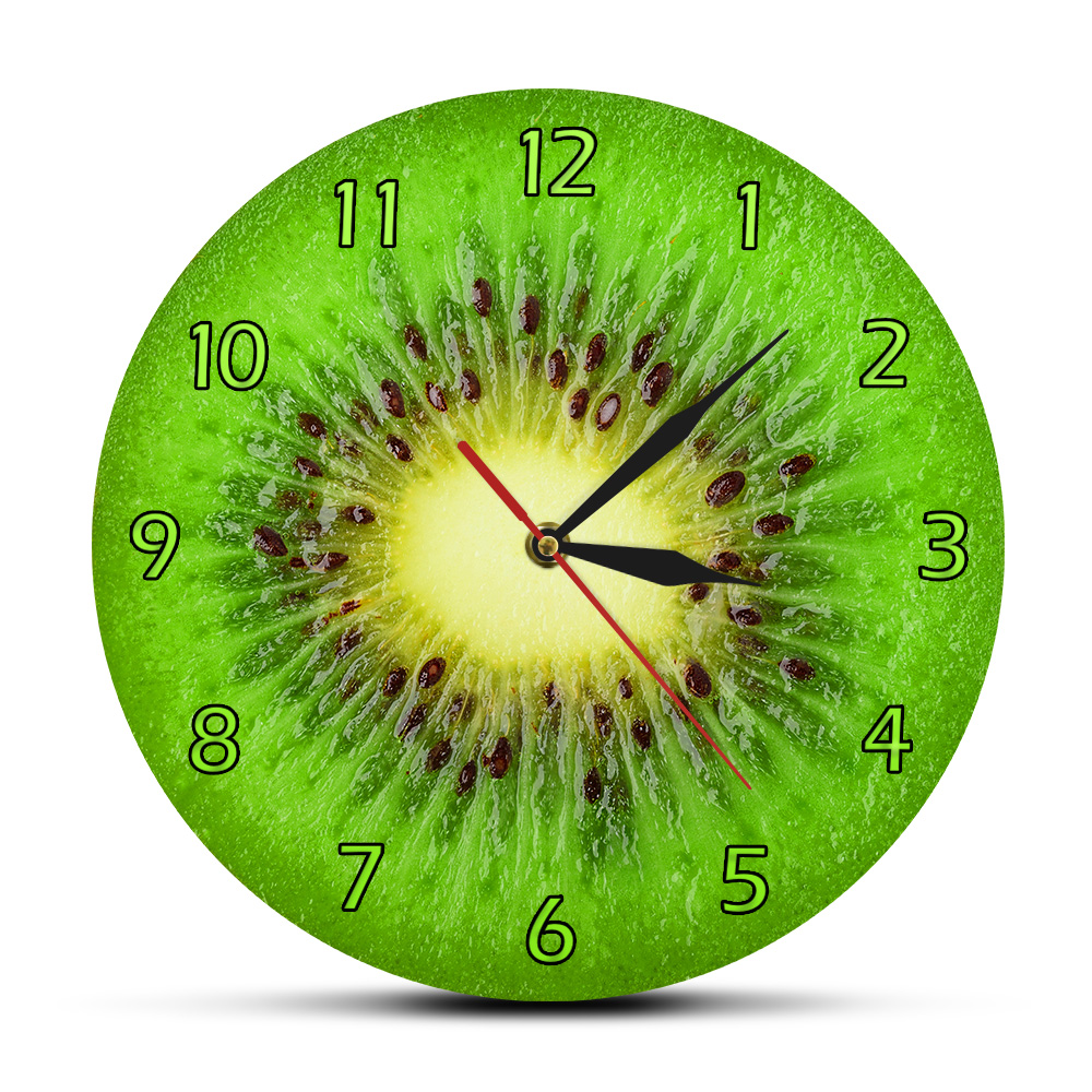 Summer Fruit Kiwi Designed Green Wall Clock Kiwi Fruit Fresh Slice Round Clock Actinidia Berry Kitchen Wall Decor Clock Watch