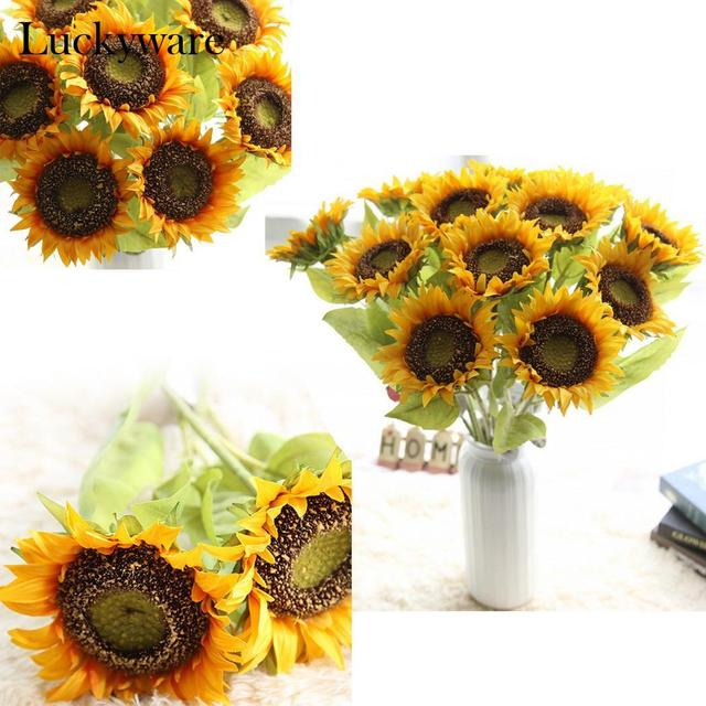 Fake Sunflower Flower Artificial Bouquet Wedding Party Home Decoration Look Realistic Pure Natural Style