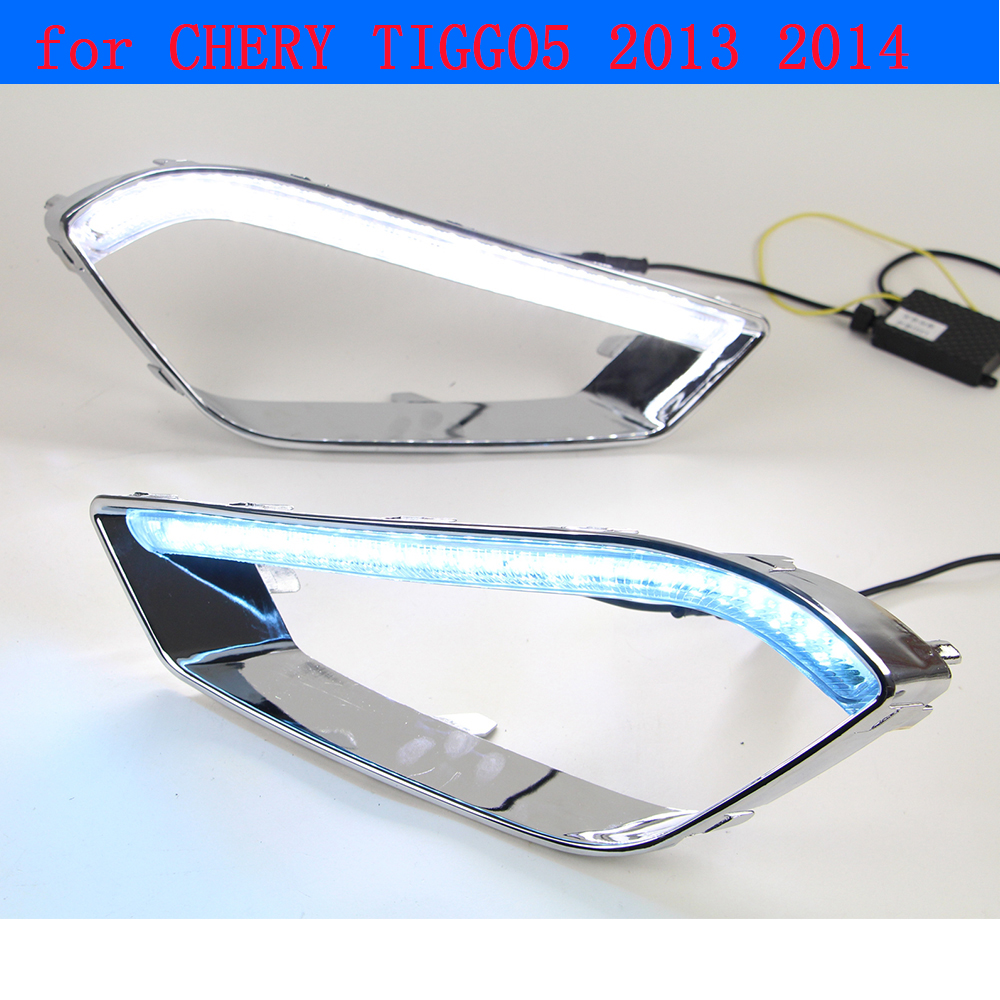 Car DRL kit for CHERY TIGGO5 2013~2014 LED Daytime Running light bar turn signal auto fog lamp daylight car led drl light 12v sinix sinix 5017