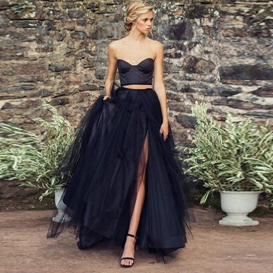 Magical Black Long Tulle Skirt Chic Side Split Puff Tulle Maxi Tutu Skirts Womens Draped Fashion