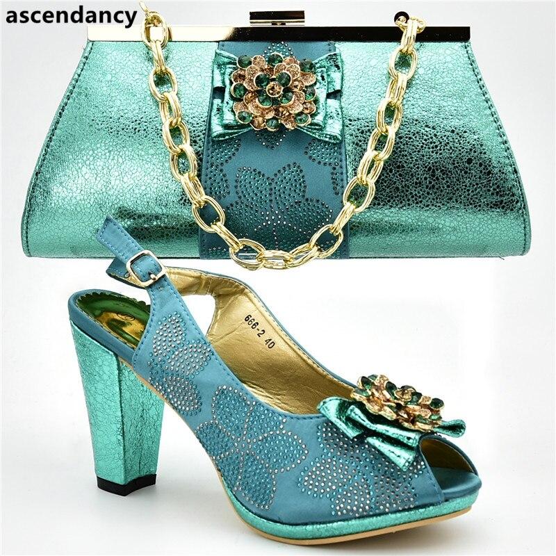 2a0139686 Parte Decorado Bolso En Juego África Verde Zapato Mujeres verde Último oro  Las Color Para Y Imitación La De ...