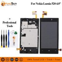 Para Nokia Lumia 520 RM-914 LCD Screen Display Toque Digitador Assembléia Peças de Reposição do Quadro