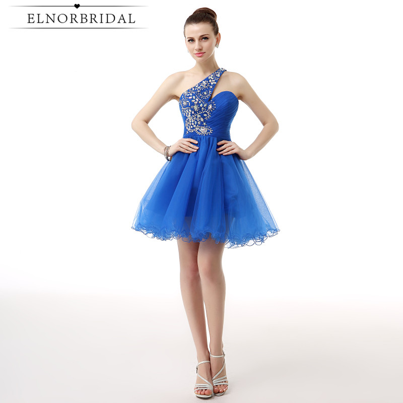 Elnorbridal Royal Blue   Cocktail     Dresses   2018 Robe De   Cocktail   Noire Beading One Shoulder Girls Homecoming Party Gowns