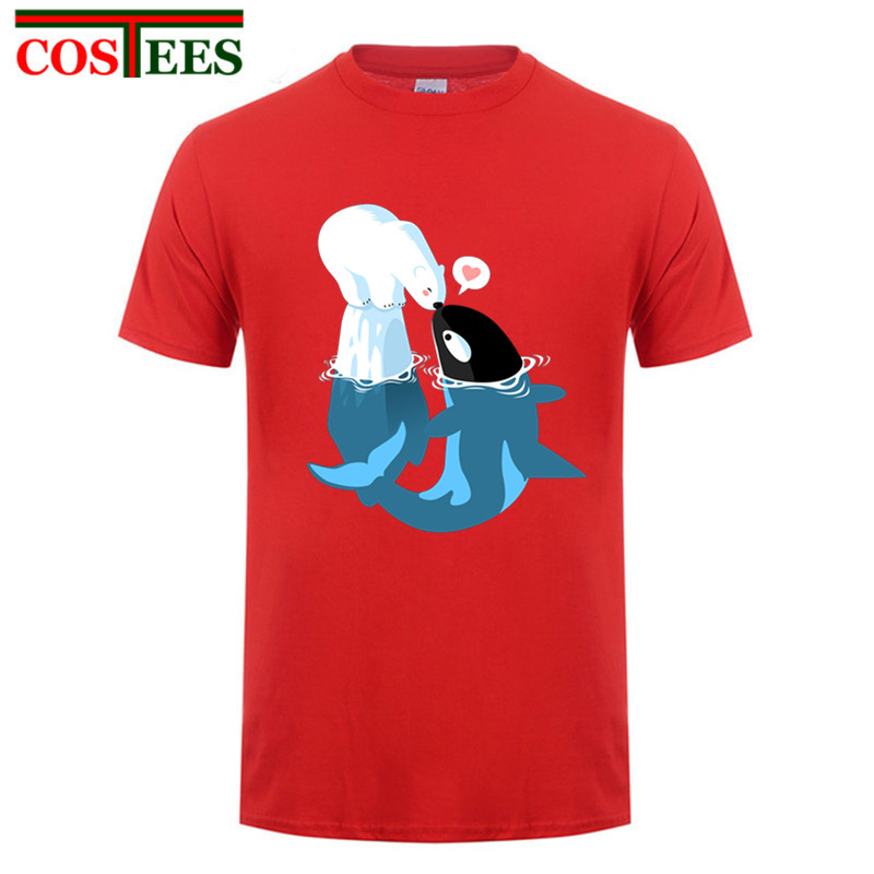 Precioso Dolphin beso Oso Polar hombres camiseta animal digital impreso pacífica orca oso amor camiseta Tops Hipster camiseta