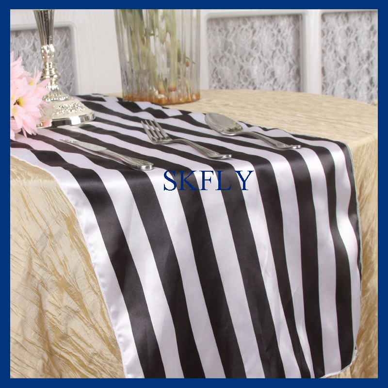 RU010A Birthday Party New Wedding Black And White Stripe Satin Table Runner