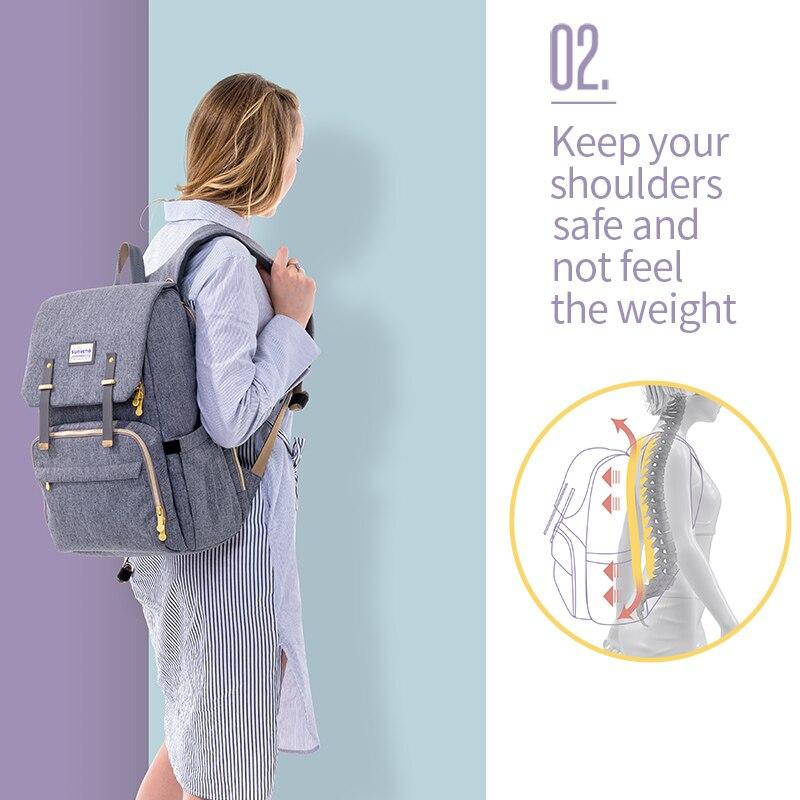 SUNVENO nouveau sac à couches mode sac à dos grande capacité bébé sac Nappy sac pour les soins de bébé - 5