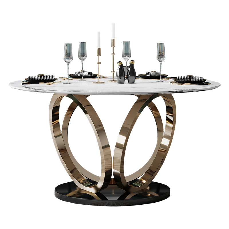 Stainless Steel Dining Room Table Set Gold Home Furniture Minimalist Modern Marble Dining Table Mesa De Jantar Muebles Comedor