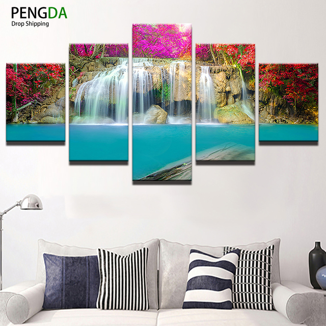 Wall Art Canvas Painting Style 5 Panel PENGDA Waterfall Wall Modular  Pictures For Living Room Cuadros