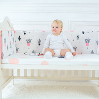 Muslinlife Lovely Cactus Triangle Baby Gril Crib Bed Bumpers Fashion Baby Bedding Set Girls Cotton Nursery