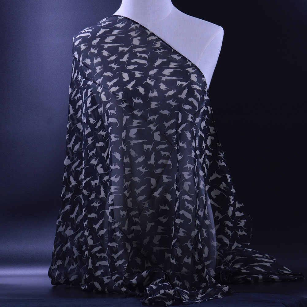 SOKUXILE 2018 Klasik kız eşarp 155x105 cm Kadınlar Bahar hayvan kedi baskı Şal Sarar Moda Bayan Başörtüsü siyah şifon Eşarp