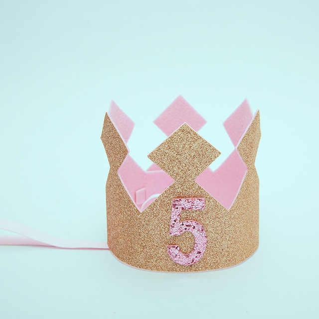 Glitter Baby Boy First Birthday Party Hat Cap piness Crown 1st 2 3 4 5 años de edad aniversar cumpleaños decoración diadema