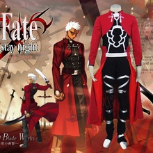 Athemis Fate Stay Night Archer Cosplay Costume Red Coat Full Set with Kneecap Fighting Outfit Hot New Product