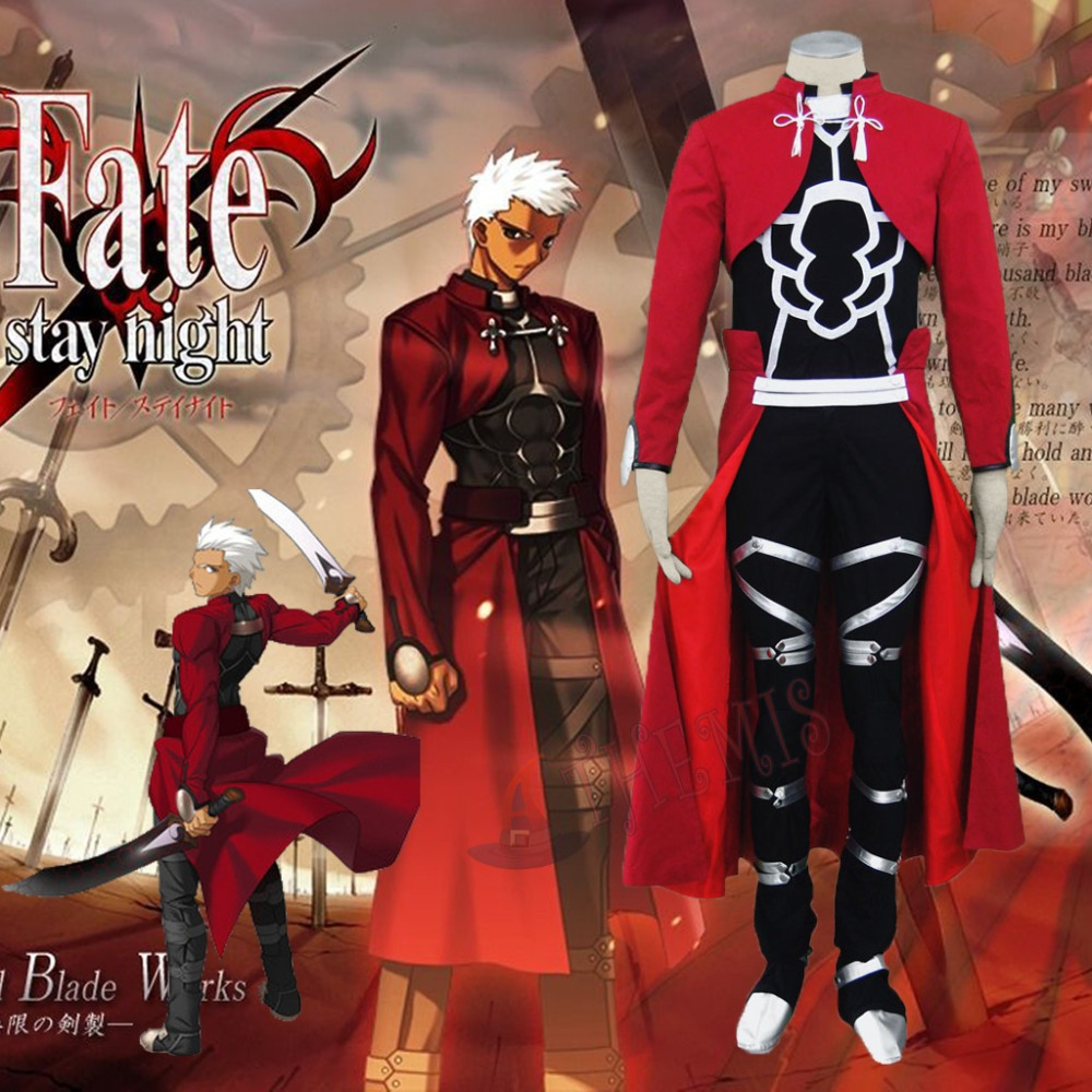 Athemis Судьба Ночь Арчер Косплэй костюм красный пальто полный набор с коленной чашечки борьба Экипировка горячее предложение код