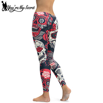 [You're My Secret] Skull Red Flowers Leggings Sexy Rose 3D Digital Printed Women Leggins Fitness Soft Slim Mujer Workout Pants