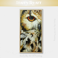 Free Shipping Low Price Hand painted Animal Owl Oil Painting on Canvas Funny Animal Bird Owl Oil Painting for Wall Decoration